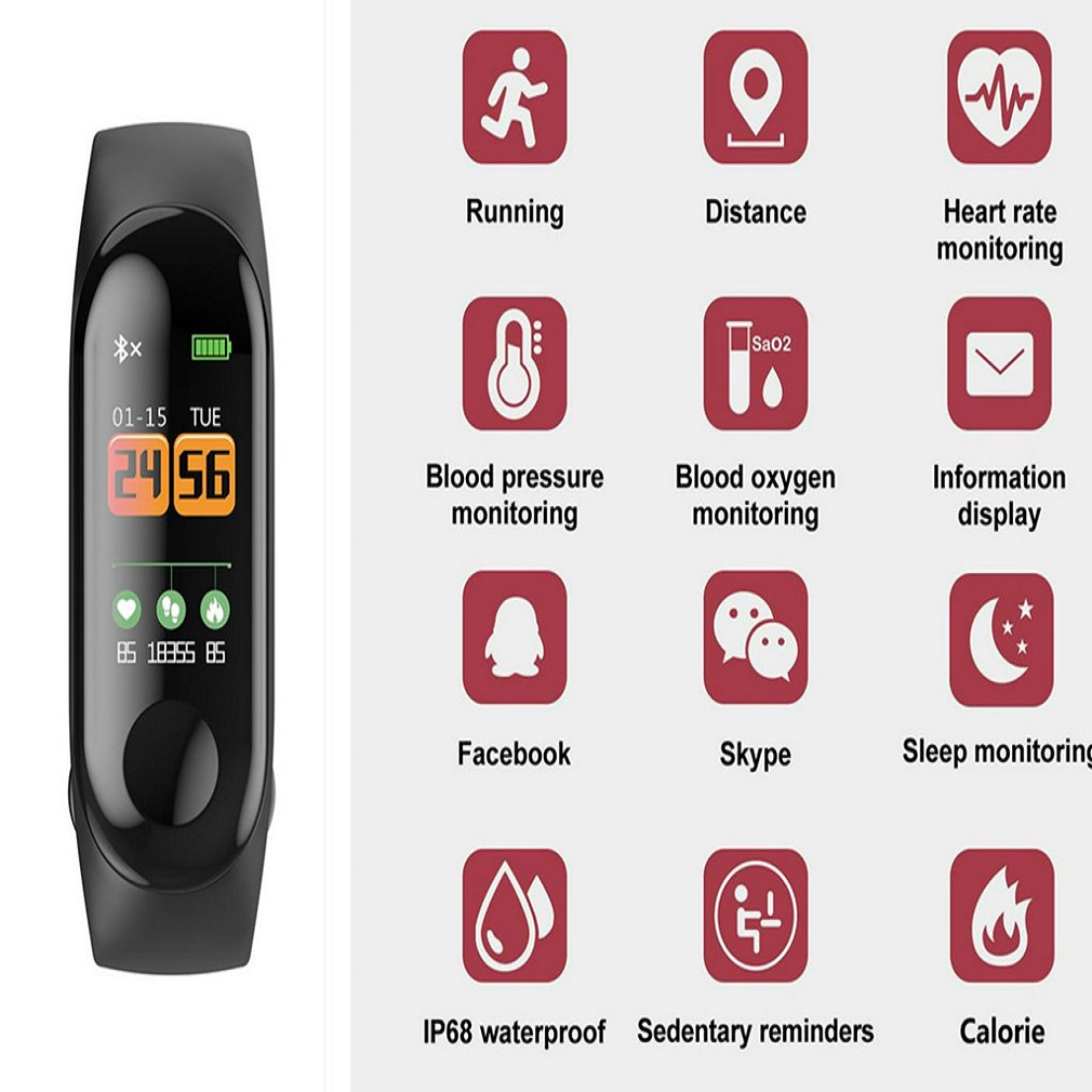 blood pressure M3C Smart Bracelet Measuring Heart Rate Pedometer Waterproof and Wear-resistant Sports Bracelet for Android Apple