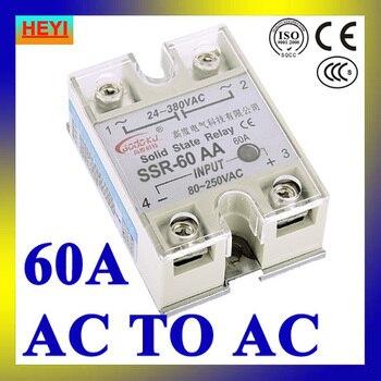 Relé de estado sólido SSR 60AA CA a CA de una sola fase, SSR-60AA entrada 80-250 V voltaje de CA lad 24-380 V CA