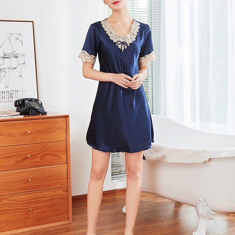 2019 Hot Sale Summer Sexy V-Neck Mini Sleepdress Short Female Patchwork Lace Slim Thin   Nightgowns