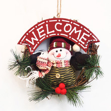 Lovely Cartoon Christmas Wreaths Door Hanging Ornaments Rattan Ring Garlands Xmas Tree Decorations Home Party Decor Pendants