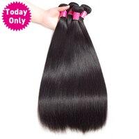 TODAY ONLY 3 Bundles Brazilian Straight Hair 100 Human Hair Weave Bundles Natural Black Color
