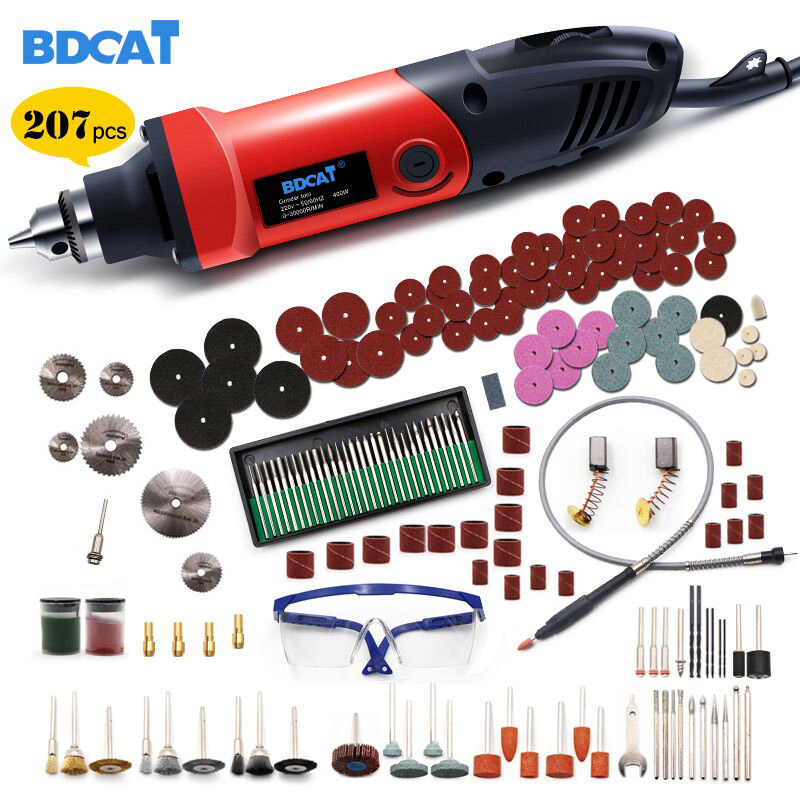 BDCAT 400W Mini Drill Rotary Tool Variable Speed Electric Grinder Engraving Polishing Power Tools with 206pcs Dremel Accessories