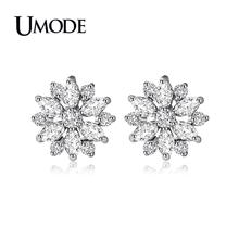 UMODE 2019 New Fashion CZ Crystal Hollow Flower Stud Earrings for Women White Gold Jewelry Brinco Aretes de Mujer Moda AUE0018