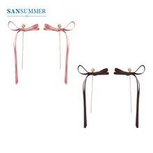 SANSUMMER New Fashion Ribbon Earrings Women Pink Black Bowknot Rhinestone Pendant Earrings Elegant Temperament Earring Gift 6191 elegant decoration acylic rhinestone earrings pendant set pink golden