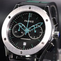 44mm parnis black dial full chronograph quartz green markers date gents watch 074