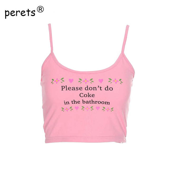 8ac4cb7c58095 Online Shop Sexy Crop Top Women Please Don t Do Coke In The Bathroom Letter  Print Funny Cropped Shirt 2018 Summer Halter Camisole Tank Tops