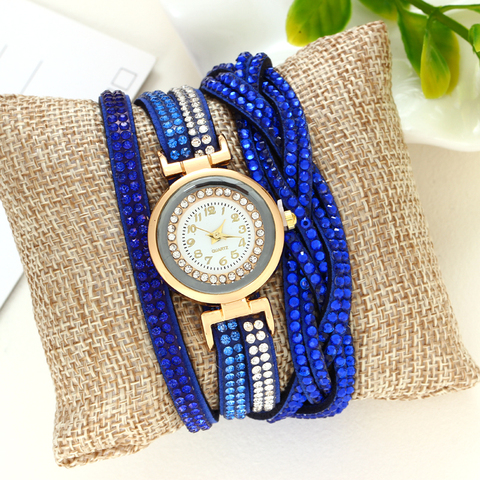 Women's Bracelet Watches Fashion Jewelry Watches Luxury Rhinestone Plated Leather Strap Multilayer Watches Women Lahore