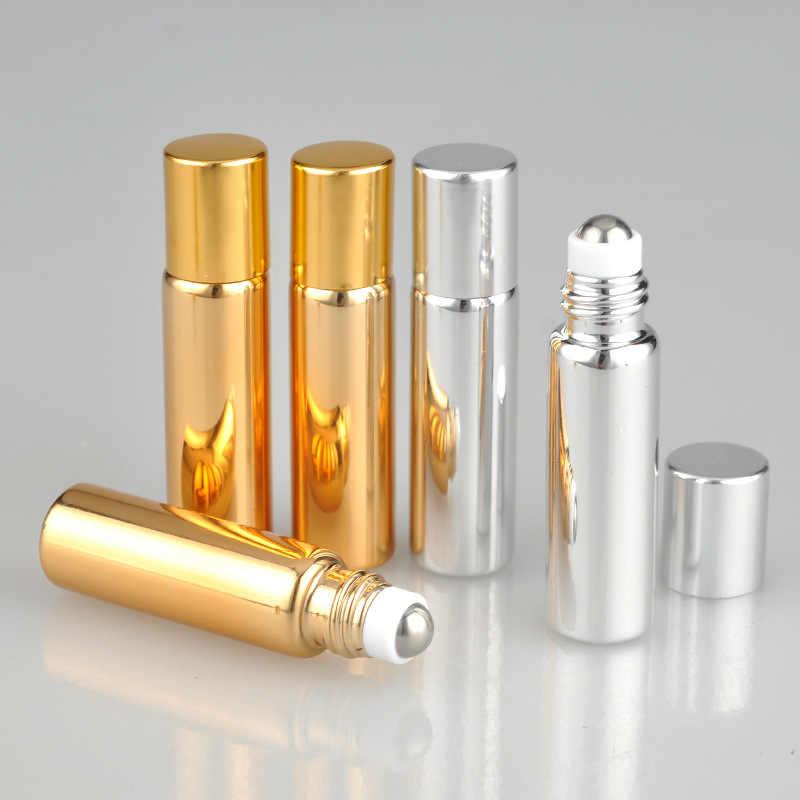 5ML Amber Eye ครีม Fullfill แก้วม้วนบางลูกกลิ้งแก้วขวดสีน้ำตาลขวดน้ำมันหอมระเหยตัวอย่าง Test ขวดโลหะ Ball