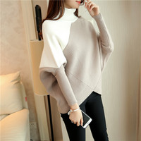 Winter 2017 Women Sweaters And Pullovers Femfale Thicken Batwing Sleeve Patchwork Long Knitted Sweaters Top Quality