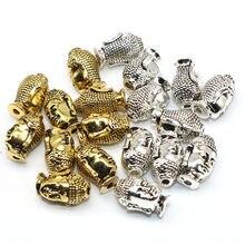 Atacado tamanho misto 20 pçs/lote sorriso buda cabeça tibetano prata cor metal encantos dourado espaçador contas para fazer jóias
