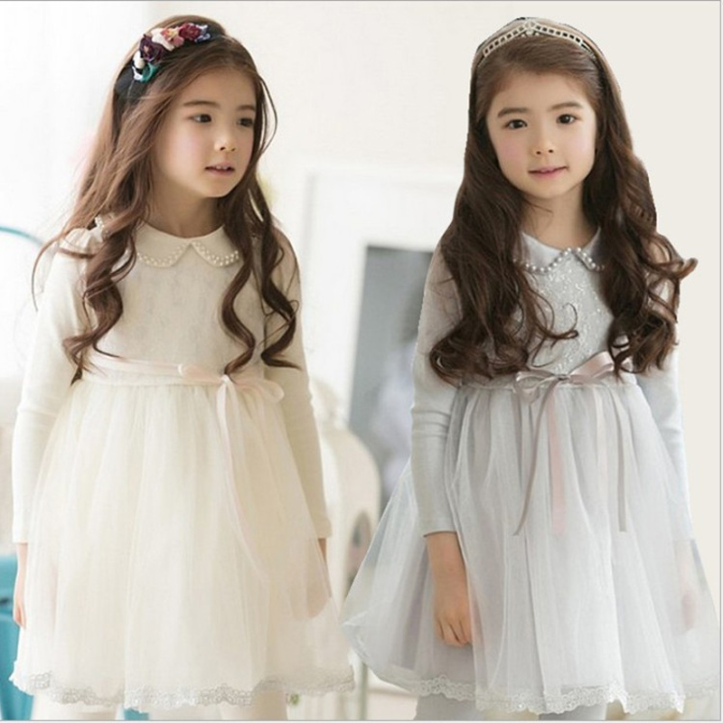 2017 Spring Winter Baby Flower Girls Lace Mesh Wedding Party Dresses Children Evening Princess Tutu Dress Kids Fashion Clothes 2016 spring winter children baby kids girls stripe princess lace mesh dress girls fall sleeveless dresses kids dresses for girls
