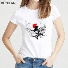 Japanese harajuku vintage shirt sunset temple mountains print tee femme white t clothes women geek female t-shirt