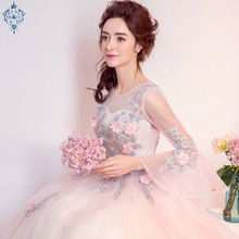 Ameision Fairy sweet floral beading Prom Gowns Evening Dresses long lacing chiffon Homecoming dress Party Elegant