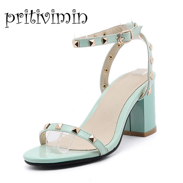 3943f2122c14 Lady Strappy Sandals black mint green apricot punk style rivet high Heel  Chunky footwear girls Gladiator big size Shoes 77-2