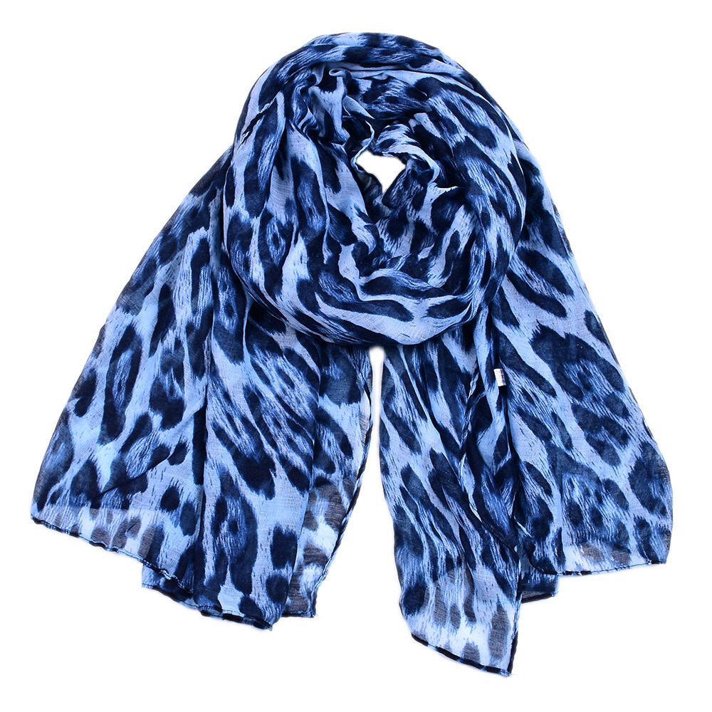 New Design leopard Long   scarf   women   scarves   voile blue animals print Cotton loop   Scarf   ring woman Shawls   wrap   colors blue circle