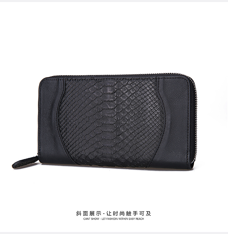 100% python skin women evening clutch wallet, Genuine/Real python skin leather long zip closure women wallets and purse