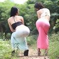 Transparente atractiva de Las Mujeres de Seda de la Leche Elástico de Una Discoteca paso de La Falda Perspectiva Sexy Paquete Hip Falda Falda Una Falda FX35