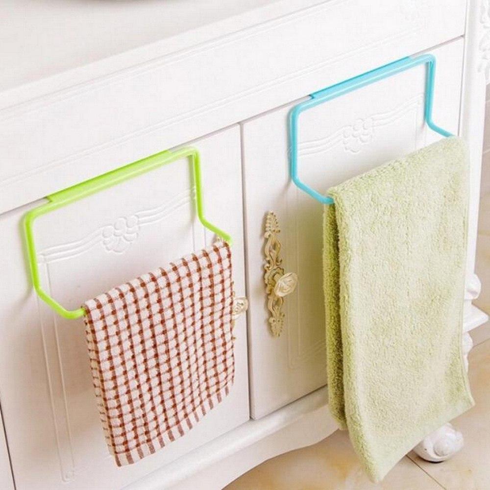 1pc Towel Racks For Kitchen Bath Hanging Holder Organizer Cabinet Cupboard Hanger  Waterproof  PVC Free Nail Over Door Back Rack