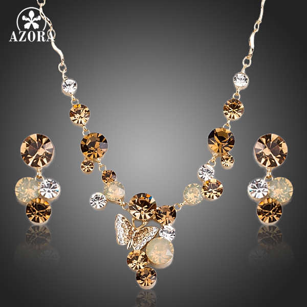 AZORA Warna Emas Kupu-kupu Stellux Austria Kristal Pendant Kalung dan Drop Earrings Jewelry Set TG0155