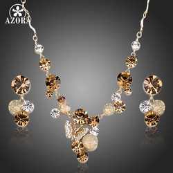 AZORA Gold Color Butterfly Stellux Austrian Crystal Pendant Necklace and Drop Earrings Jewelry Sets TG0155