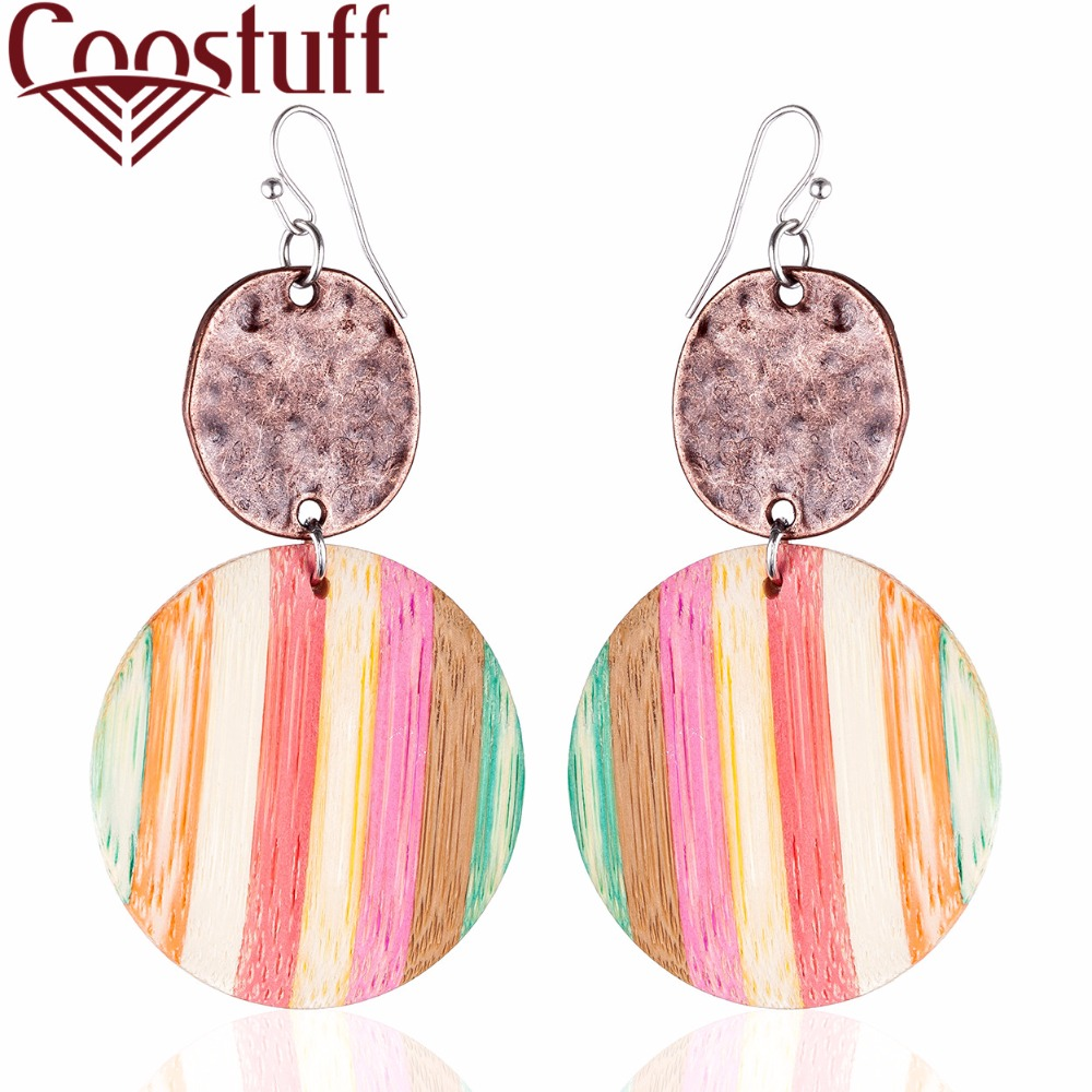 Beautiful 2018 Wholesale Vintage Women Earrings Color Wood Long Earrings Silver Dangle pendientes brincos long earrings Jewelry