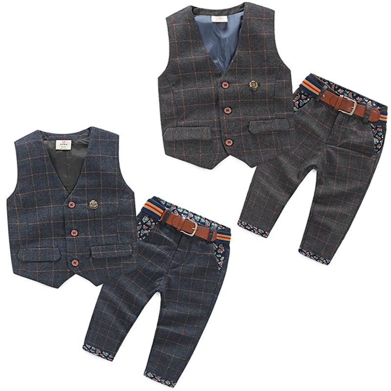 2016 Spring Male Child Children'S Clothing Vest Long Trousers Twinset Child Boiy Plaid Set