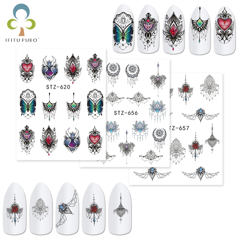 9 Sheets Different Necklace Jewelry Design Water Transfer