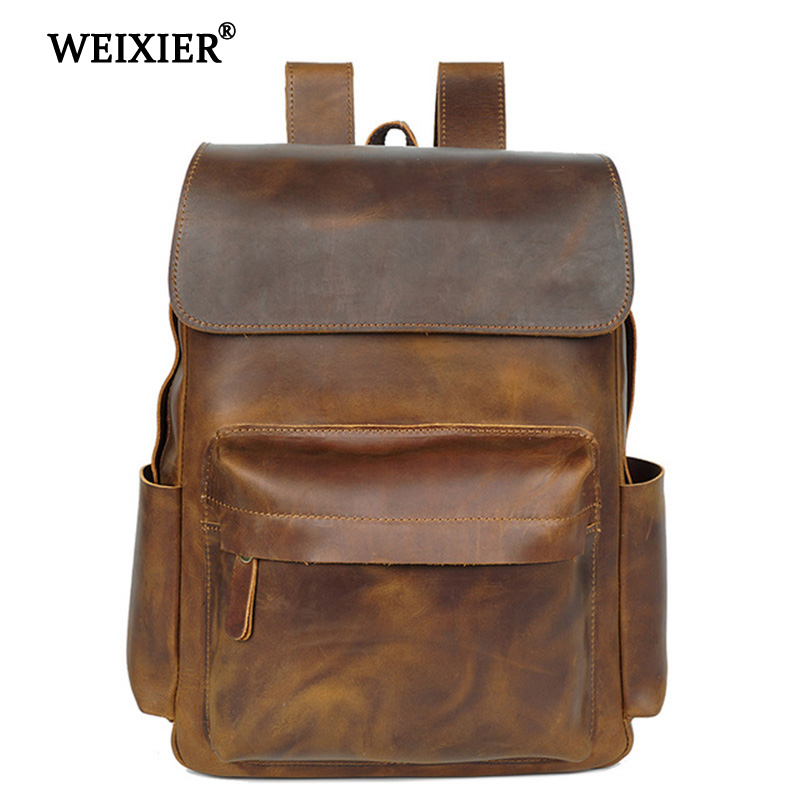 WEIXIER 2019 Genuine Leather School Student Large Capacity Backpack Classic Design Multifunctional Casual High Quality Backpack