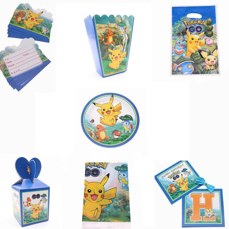 Pokemon Pikachu festa Temática decoração Presente de aniversário fontes da Festa de Talheres conjuntos placa máscara fontes do chuveiro de bebê decoração