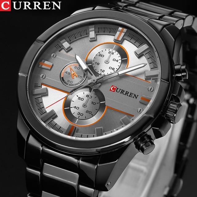 新しいカレン高級ブランド腕時計男性クォーツのファッションカジュアル男性スポーツ時計フルスチールミリタリー腕時計レロジオmasculino