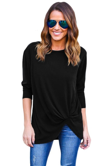Adogirl Mujeres Mantón Largo camisetas Más El Tamaño 2016 Otoño Caliente de la Señora Loose O-cuello de Manga Larga camiseta Camisetas Negro Azul Superior de la Ropa Interior