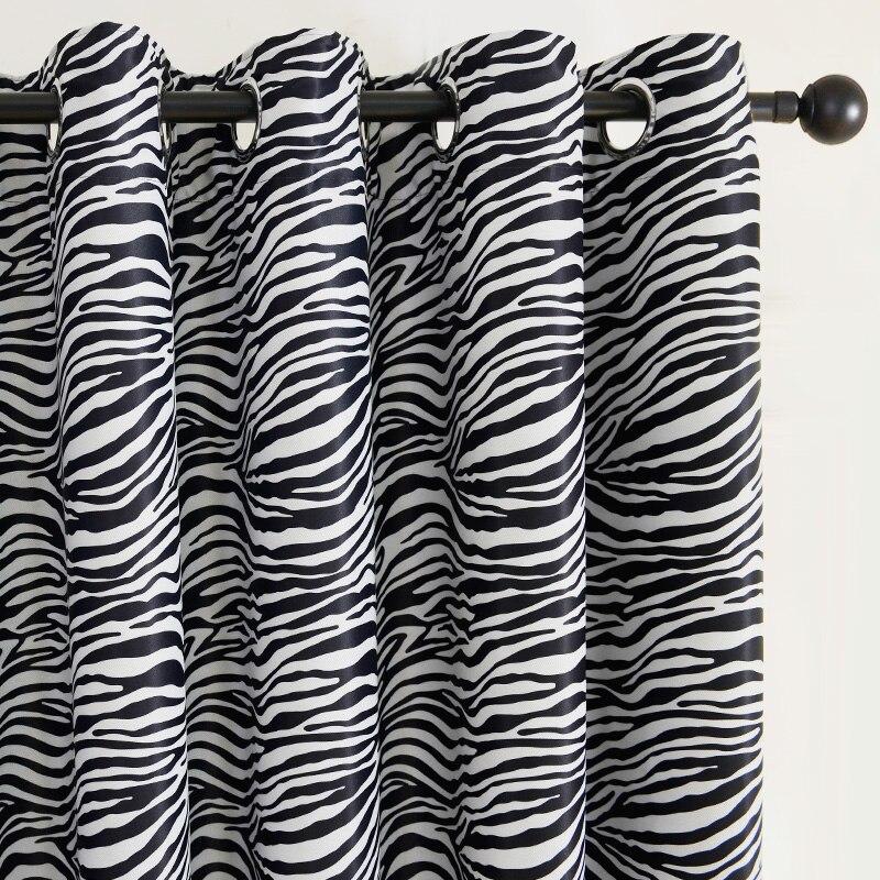 Top Finel Modern Curtain Black And White Zebra Print