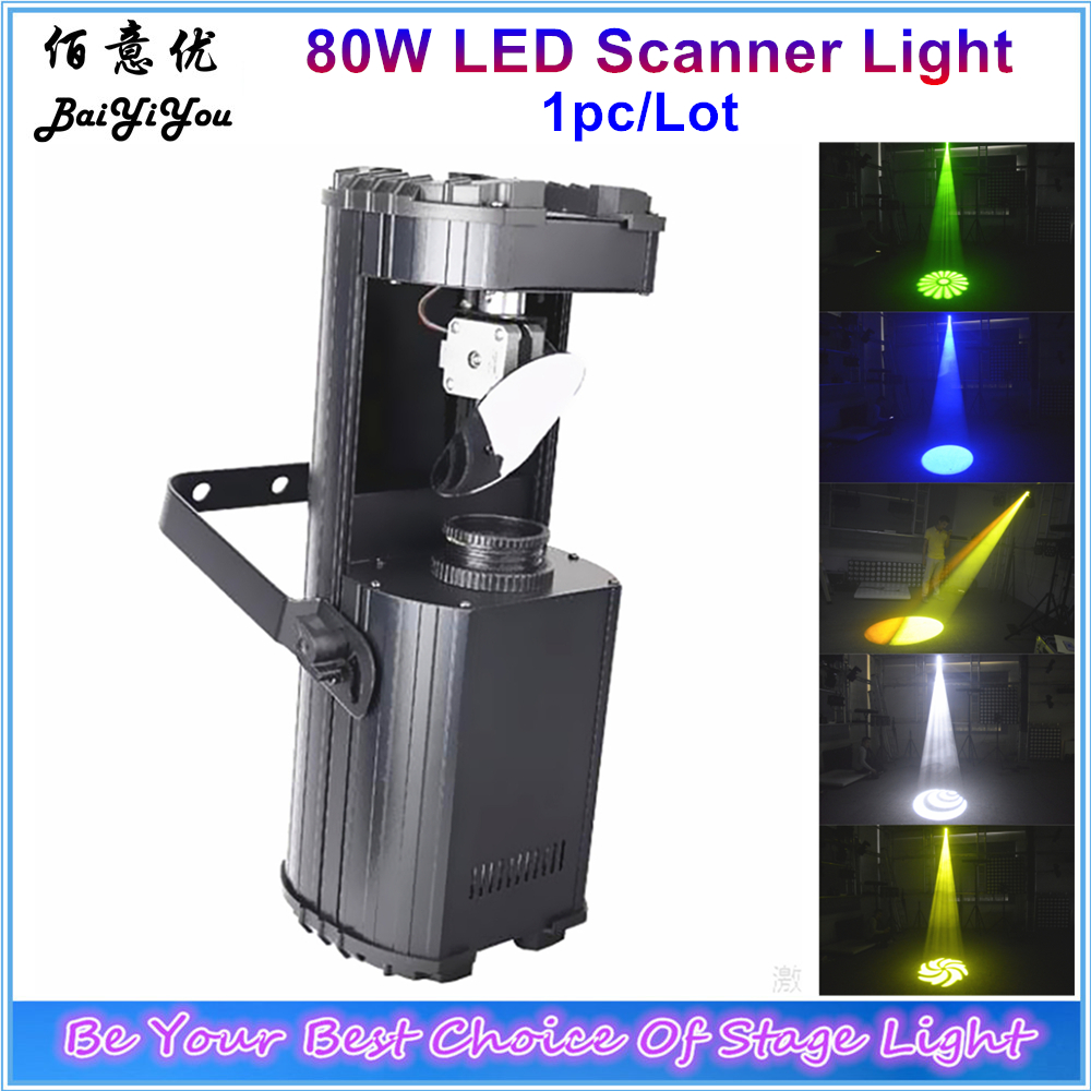 1pc Lot High Power 80W LED Scanner Light White LED DMX Scanner With Color And Gobo