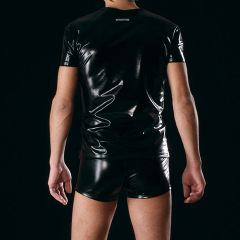 Cool Men PU Imitation Faux Leather T-Shirts Hot Sexy Club Dance Stage Performance Wear Light Man T-shirt Tops Tees Undershir