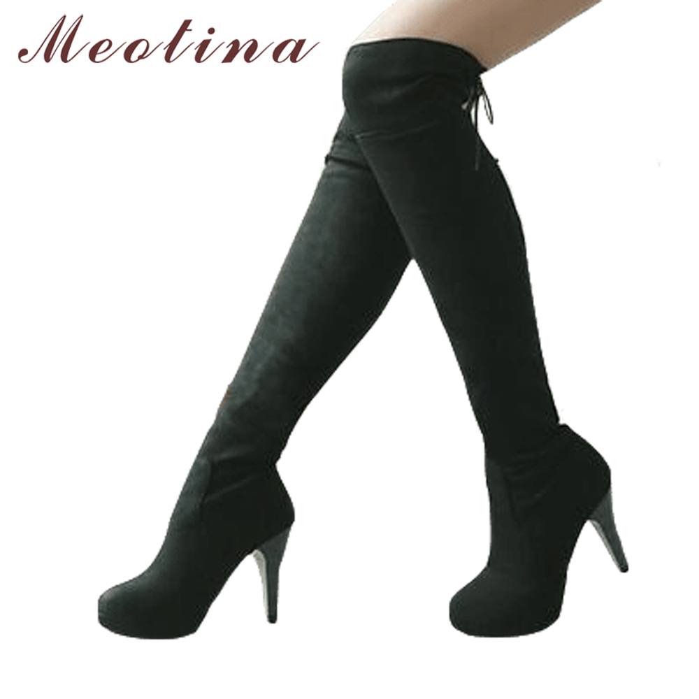Meotina Winter Thigh High Boots Lace Up Over The Knee Boots Shoes Women Long Boots Autumn Ladies Platform High Heels Big Size 43Meotina Winter Thigh High Boots Lace Up Over The Knee Boots Shoes Women Long Boots Autumn Ladies Platform High Heels Big Size 43