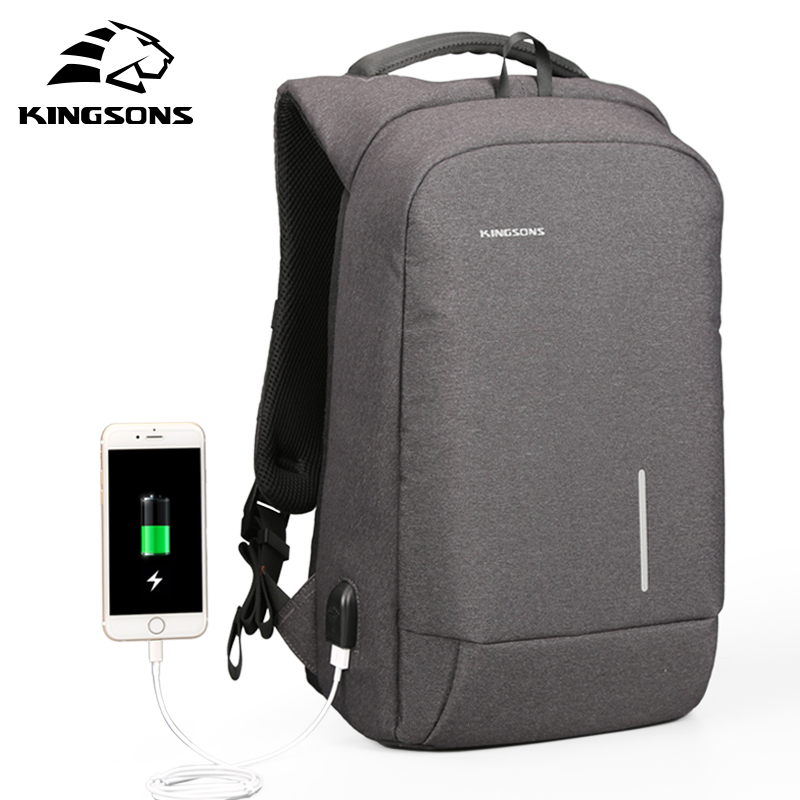 KINGSONS Brand Men Backpack 13 15.6 inch USB Charge Laptop Bag Anti-theft Notebook Waterproof Laptop Backpack Women School Bag kingsons external charging usb function school backpack anti theft boy s girl s dayback women travel bag 15 6 inch 2017 new