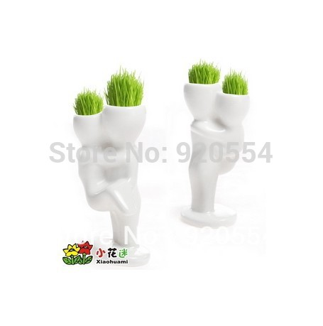 Creative Gift Plant Hair man Plant Bonsai Grass Doll Office Mini Plant Fantastic Home Decor pot+seeds 4design free shipping(China (Mainland))