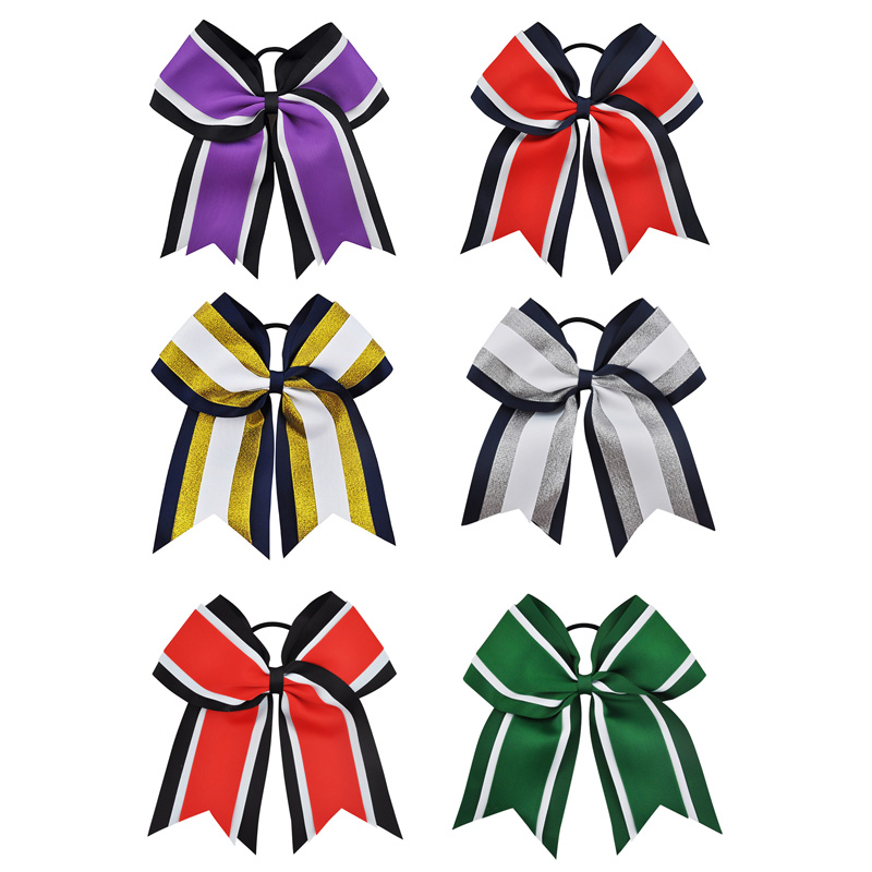 8 Inch  Grils Hair Bows With Elastic Bands Navy Grosgrain Cheerleading Bows With Gold Silver Organza Hair Accessories