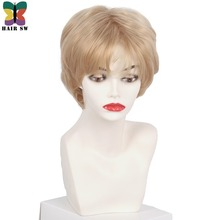 HAIR SW Short Layered Side Bangs Pixie Capless wig Fluffy Ash Brown Golden Blonde Auburn for Senior Ladies with thinning hair spiffy fluffy short boy cut human hair straight side bang capless wig for women