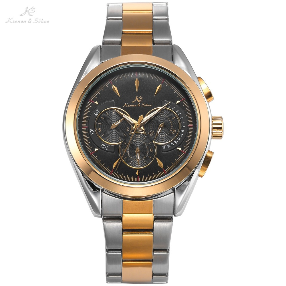 KS Brand Men Golden Auto 6 Hand Date Day 24 Hours Steel Band Clock Male Automatic Self Wind Mechanical Luxury Wrist Watch /KS225 ks luxury automatic self wind date day 24 hours black 3 dial steel strap mechanical wrist watches mens gents timepieces ks307