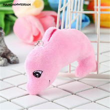 HANDANWEIRAN 1Pcs Hot 9CM Lovely Stuffed Plush Sea Animals Toys Kawaii Whale Pendants Keychain Plush Toy Kid's Gifts PP Cotton