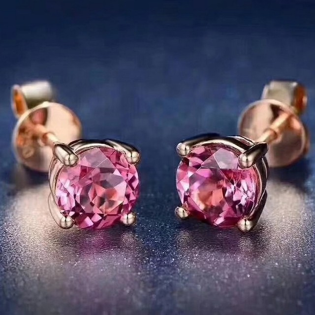 Fidelity Natural 4mm Pink Tourmaline Stud Earrings S925 Silver Simple Round Fine Jewelry For Women Party