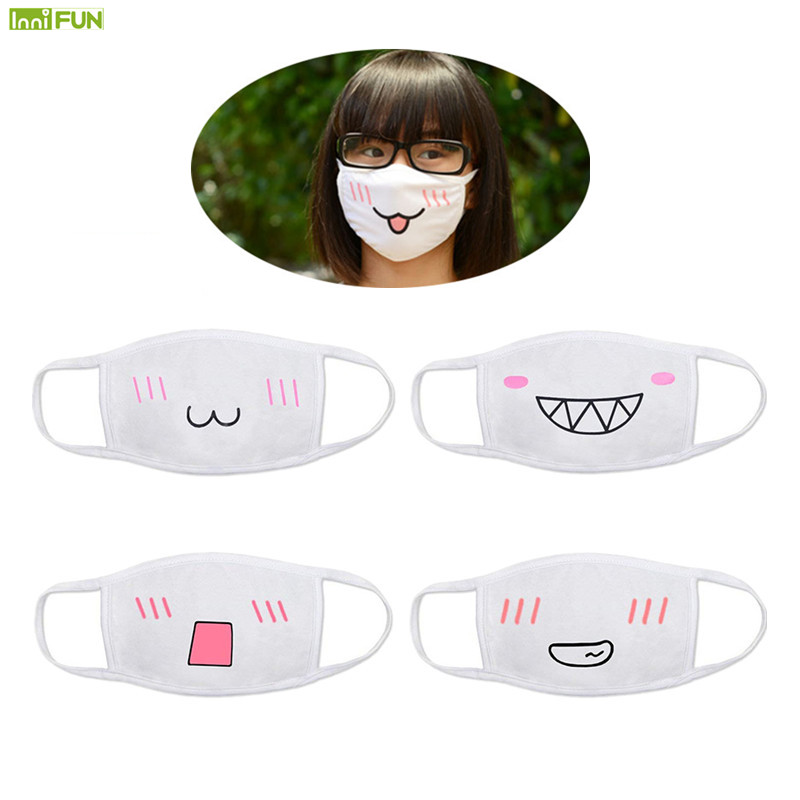 1Pc Cute Anti Dust Face Mask Cotton Breathing Mouth Mask Anime Cartoon Mouth Muffle Emotiction Daily And Masque Fashionable
