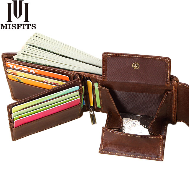 MISFITS Genuine Leather Men Wallets Vintage Hasp Design Women Money Bag Zipper Pocket Card Holder Standard Portomonee Coin Purse