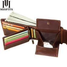 MISFITS oryginalne męskie portfele skórzane Vintage zapinany design damski portfel kieszeń na suwak wizytownik standardowy Portomonee Coin torebka