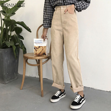 Pants Women Loose Solid Corduroy High Waist Pockets Solid Womens Long Trousers K