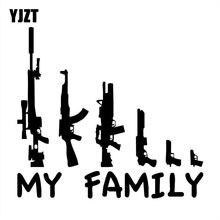 Yjzt 20x18.2cm minha família arma dos desenhos animados divertido vinil adesivo de carro decalques da motocicleta S8-0004