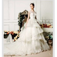 Noiva Custom Made White/Ivory Organza Applique Ruffles Lace Wedding Dress Vestido De Casamento