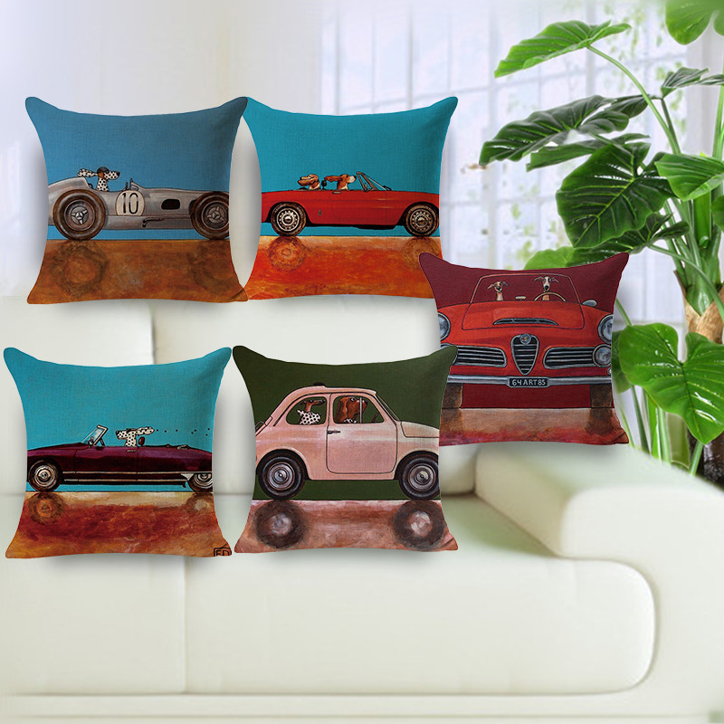 Hot Sale Lovely Cartoon Dog Driving Car Vintage Almofadas 45X45CM Linen Decorative pillows Cushion Cover cheap price pillowcase