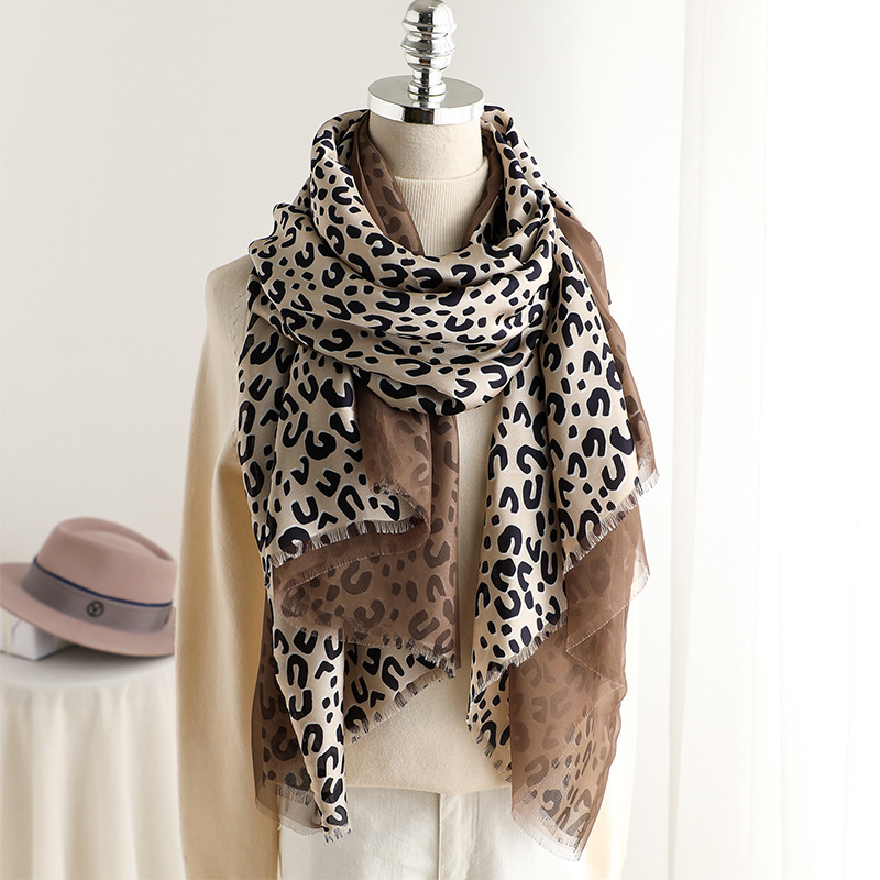 Newest Leopard Print Winter   Scarf   for Women Double Layer Silk Long Shawls and   Wraps   2019 Spring   Scarves   Female 90*180cm